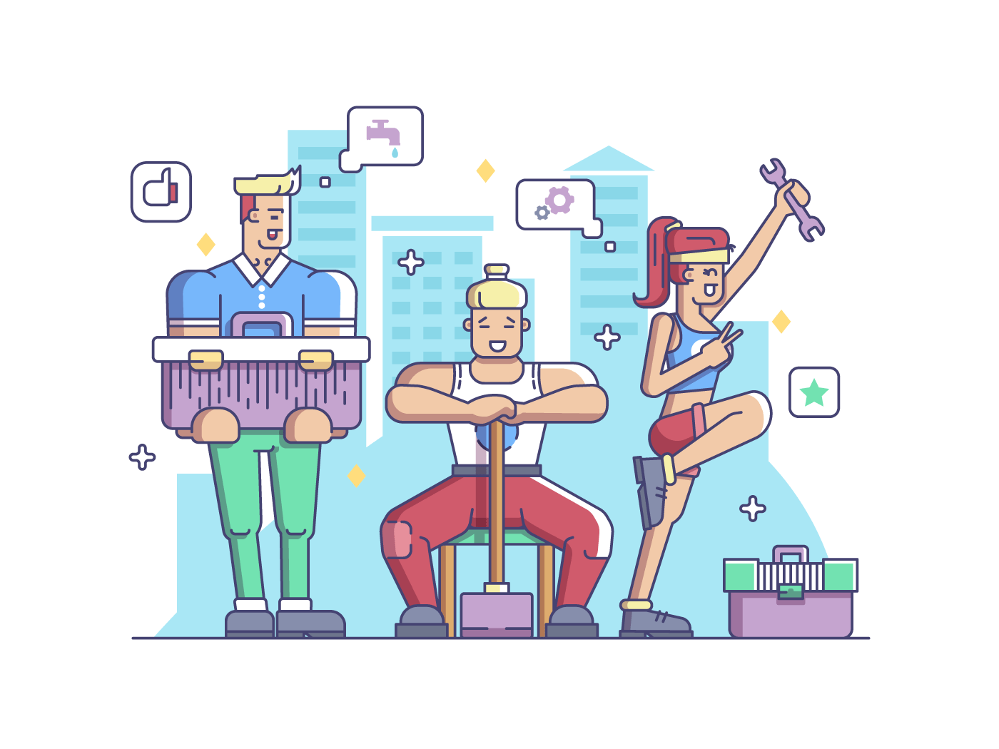 Workers, man and woman illustration