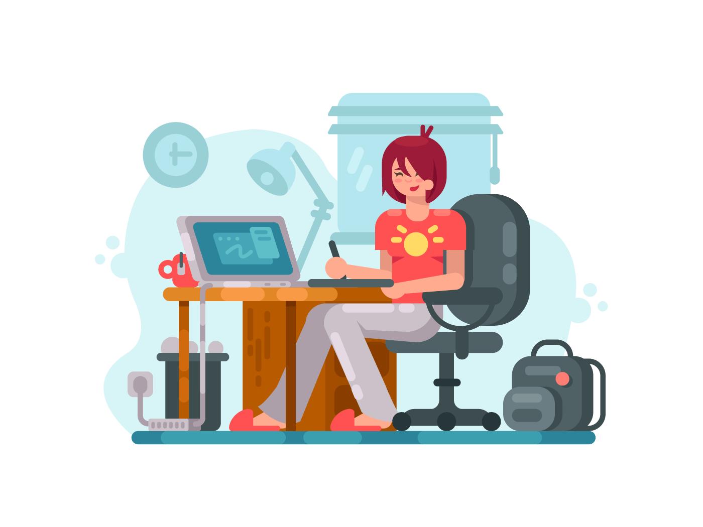 Girl designer at workplace illustration