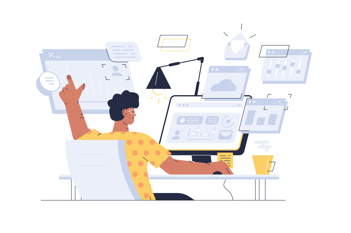 Busy man at workplace vector illustration. Overworked guy sitting at computer and working with many open programme windows flat style design. Workflow in full swing concept