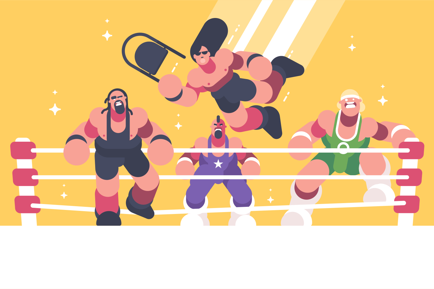 Strong and powerful wrestlers in ring. Recreational sports show. Vector illustration