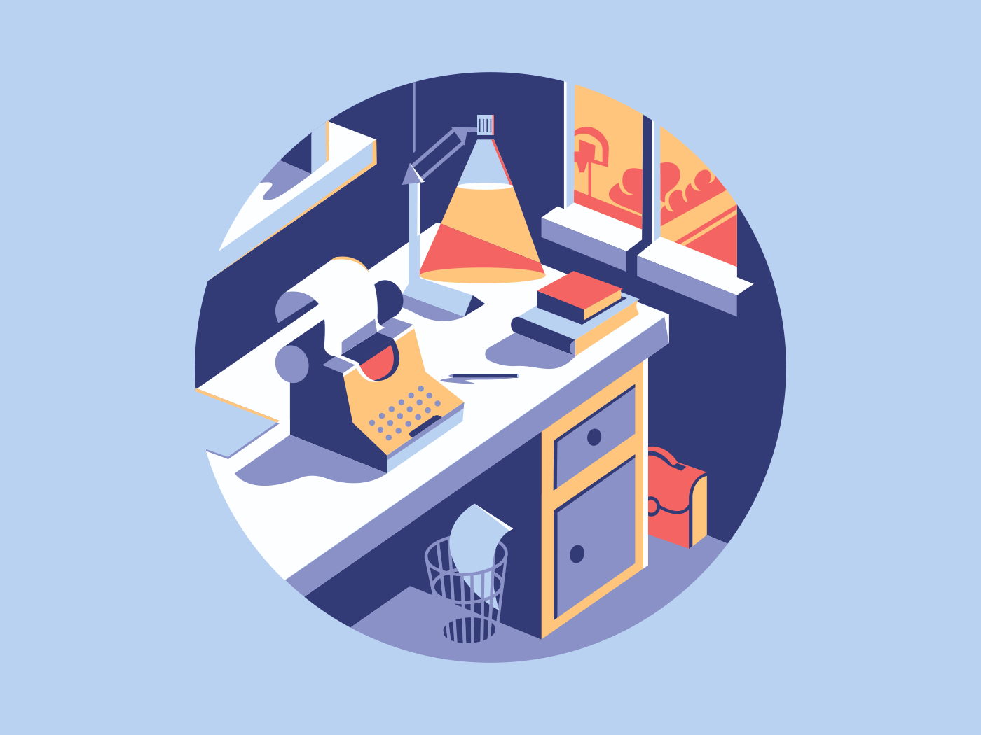 Writing space flat vector illustration