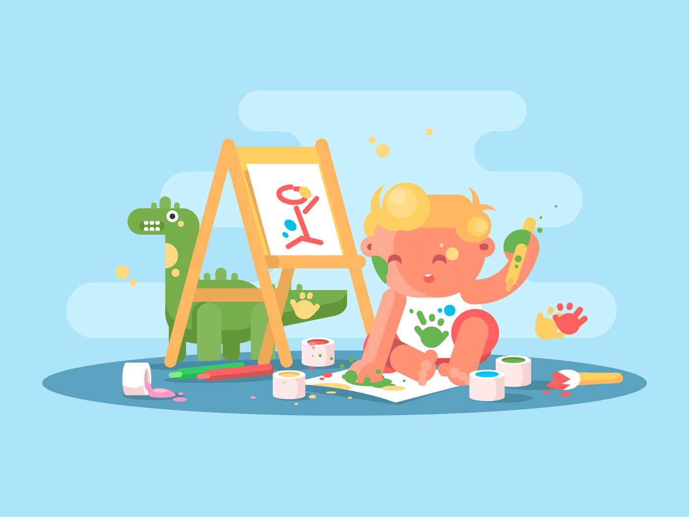 Little young baby artist flat vector illustration