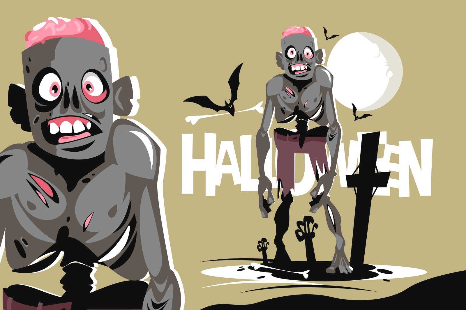 Scary walking zombie character vector illustration. Flying bats and creepy atmosphere on cemetery flat style. Happy halloween holiday concept. Isolated on green background