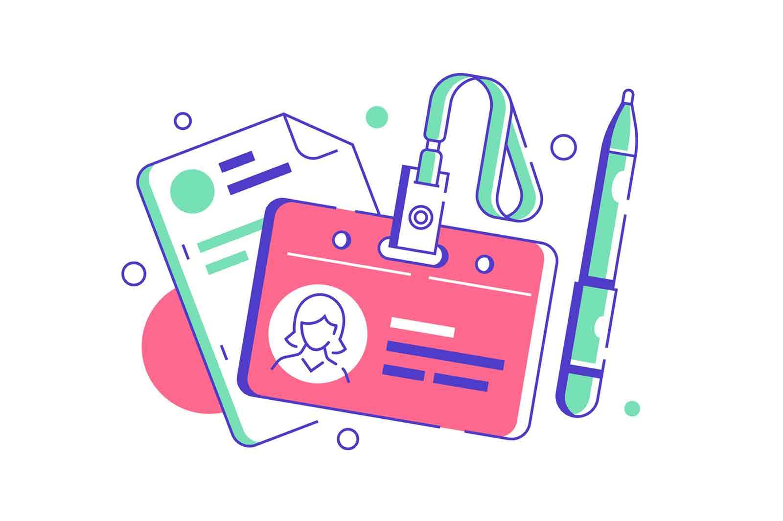 HR manager badge for employee with documents or resume with pen. Isolated concept of female worker equipment using show identity with id card. Vector illustration.