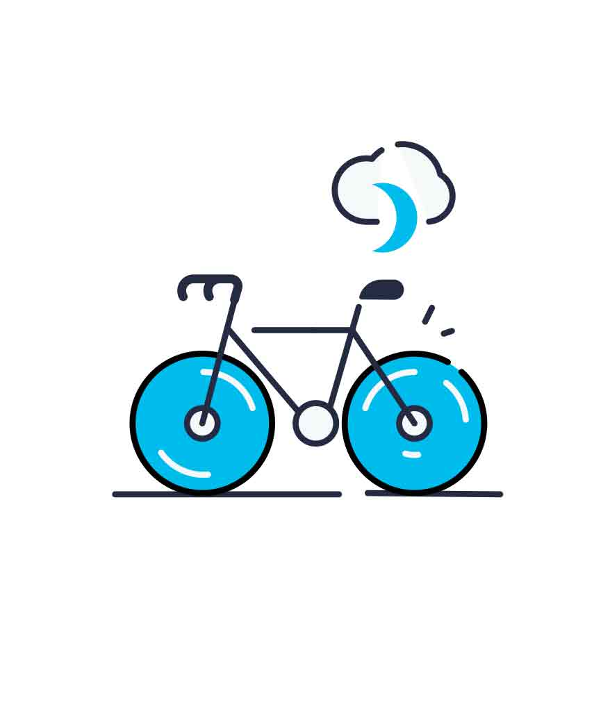 Blue line icons collection