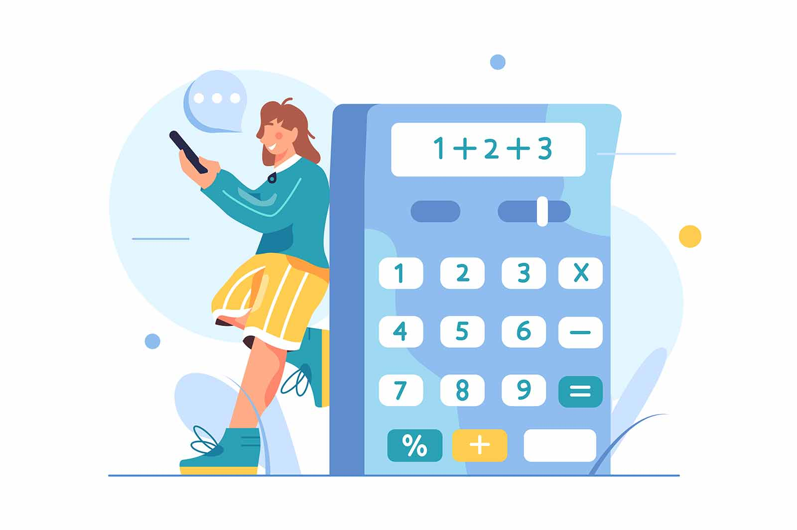 Woman counting numbers on a big calculator, woman holding a phone in her hands, isolated on white background, flat vector illustration