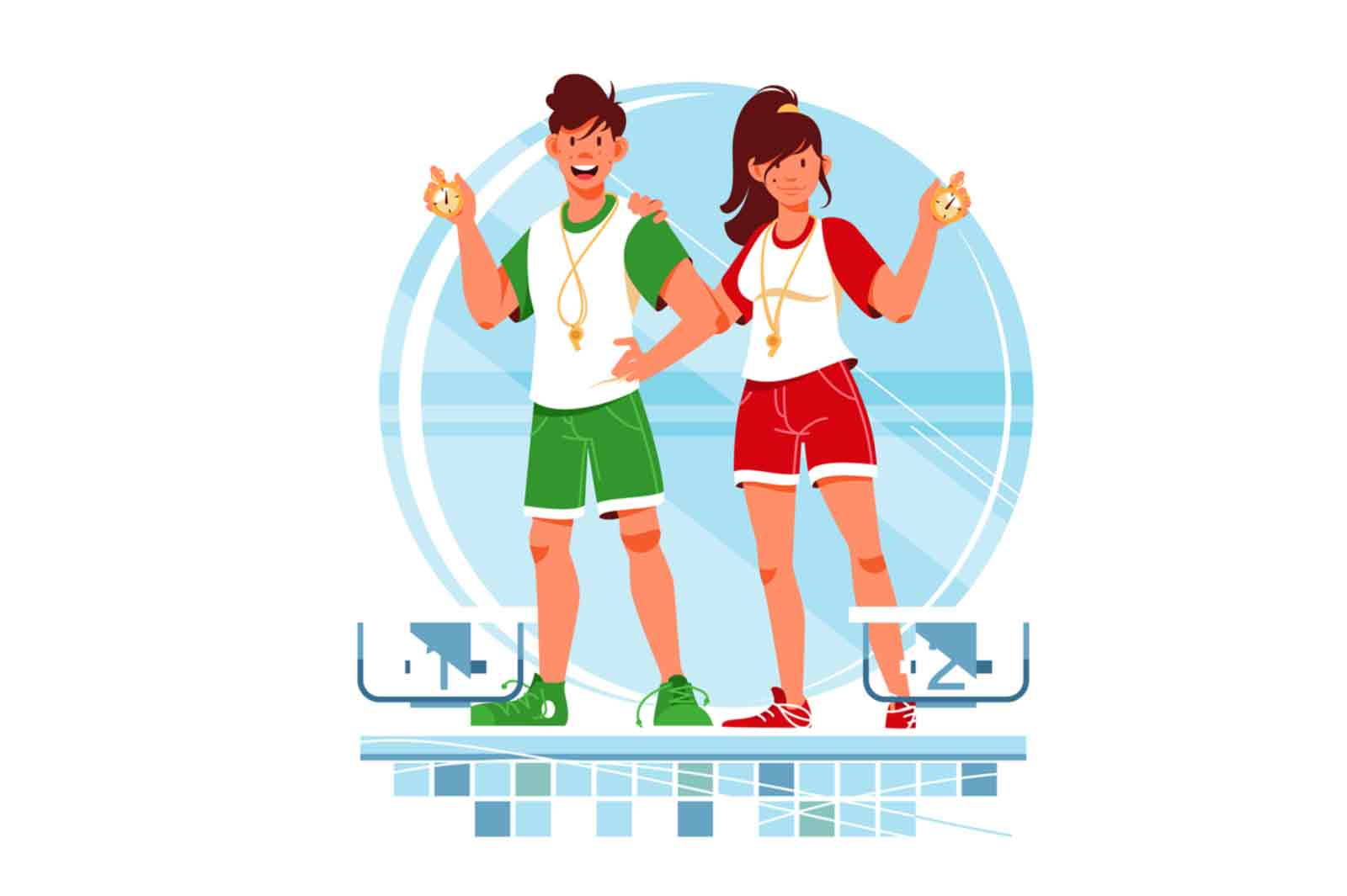 Happy woman and man coaches with stopwatch for training vector illustration.
