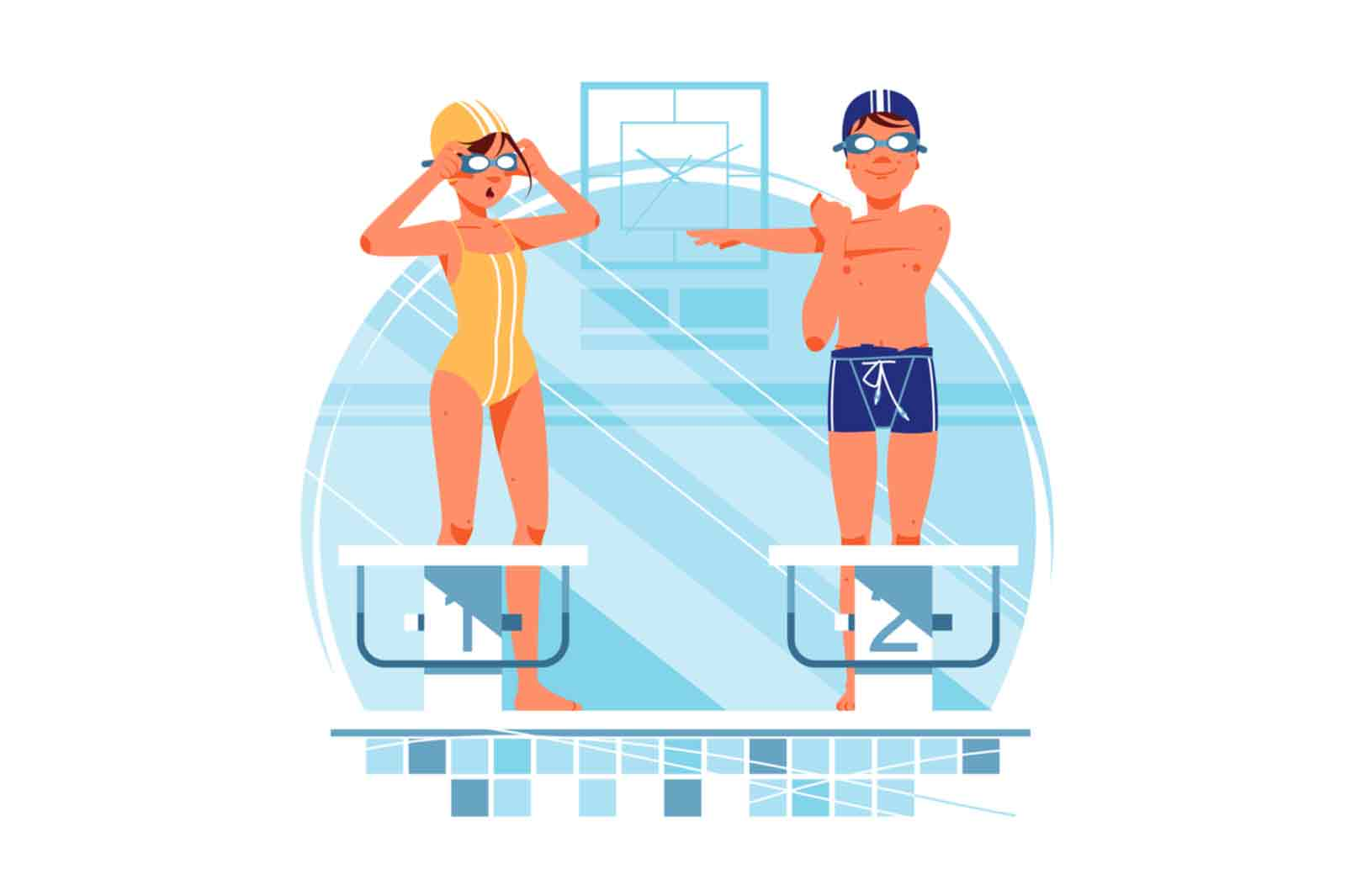 Happy Gurl and boy swimmers have warm up for training vector illustration.