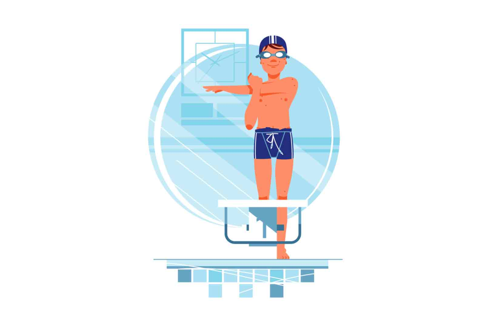 Happy boy swimmer have a warm up for training vector illustration.