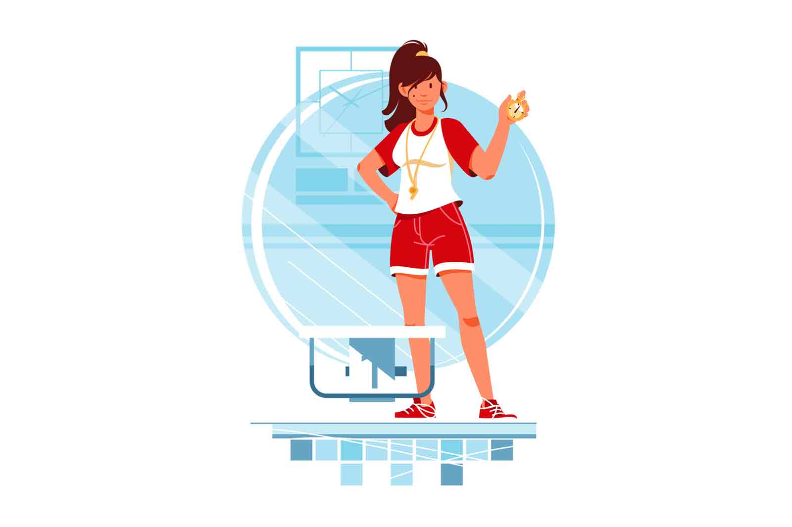 Happy woman swimming coach with stopwatch for training. vector illustration.