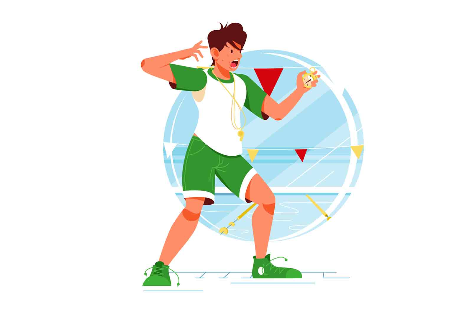 Screaming sport swimming coach man with stopwatch for training vector illustration.