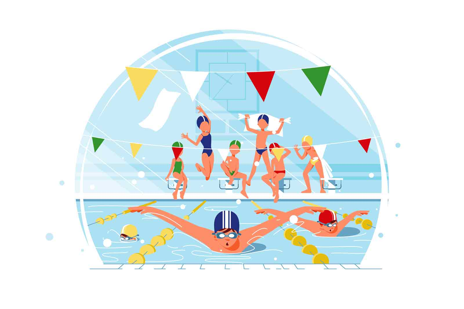 Kids swimming competition on happy kids background vector illustration.