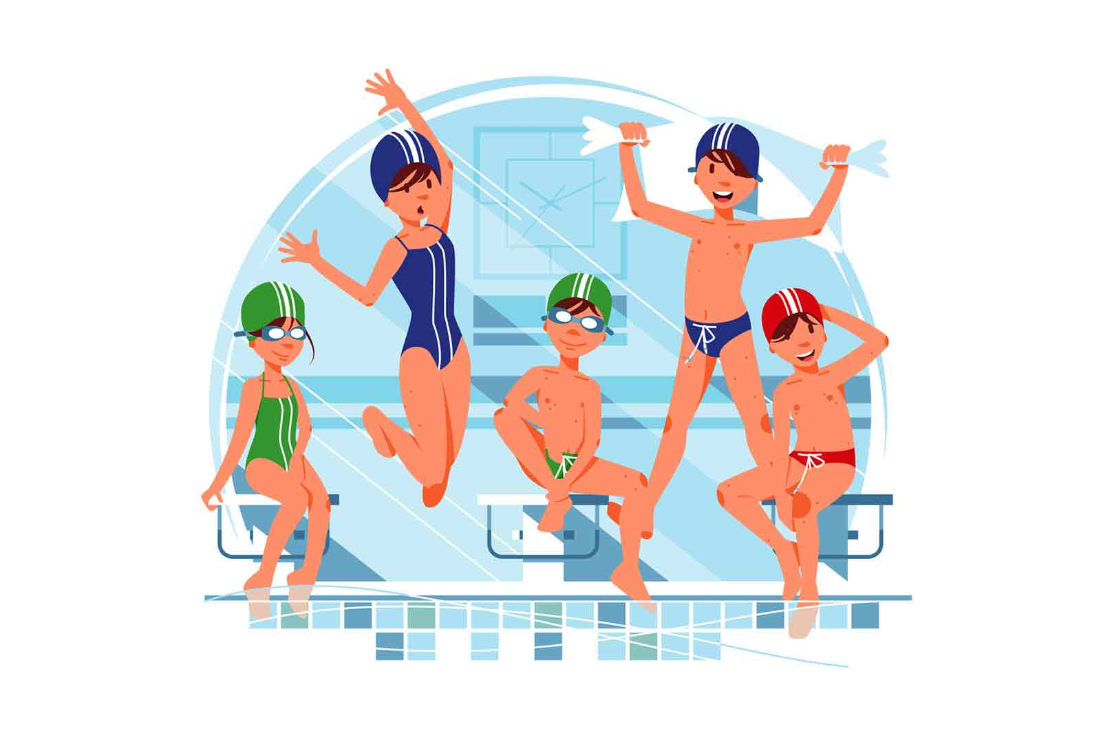 Kids boys and girls prepare before swimming competitions vector illustration.