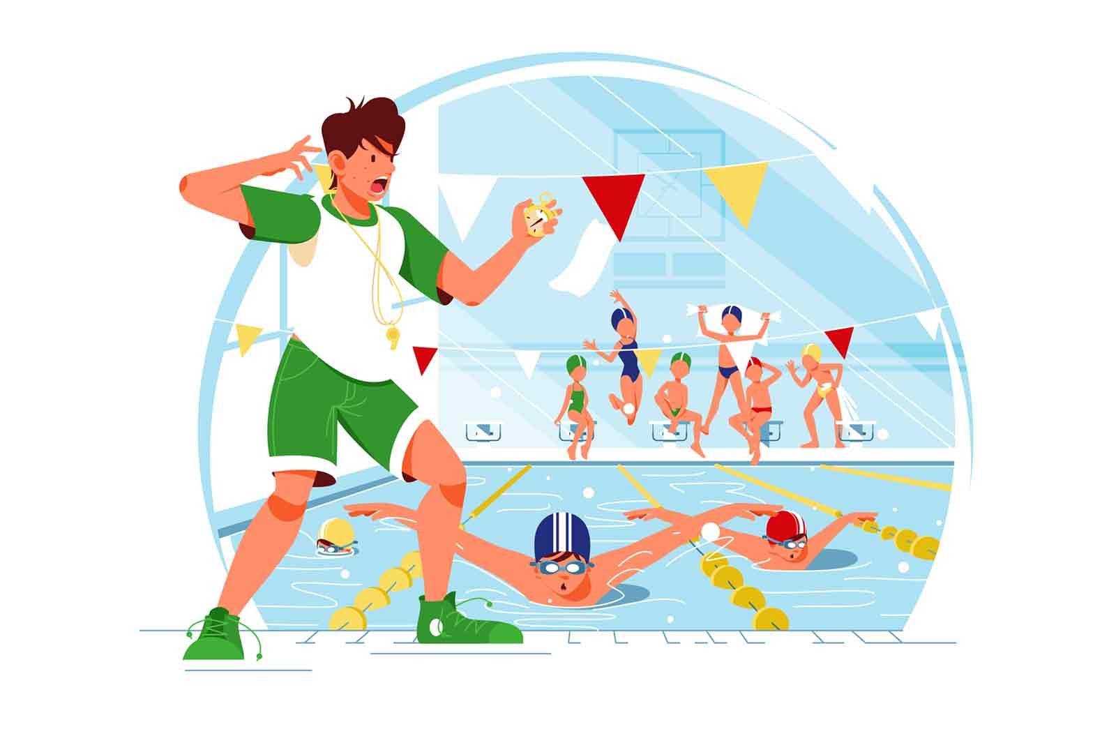 Swimming competition concept vector illustration.