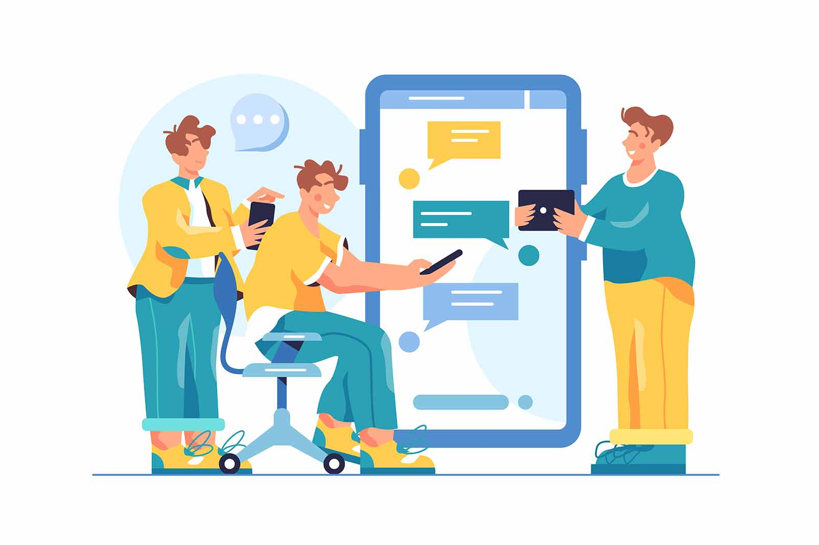Group of men are engaged in correspondence in a general chat on a large mobile phone, man is sitting on chair with phone, isolated on a white background, flat vector illustration