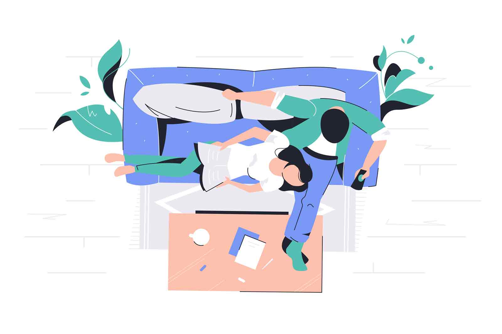 Attractive couple of woman lying on man knees sitting on couch in living room. Concept cute family characters have good time together. Vector illustrastion.
