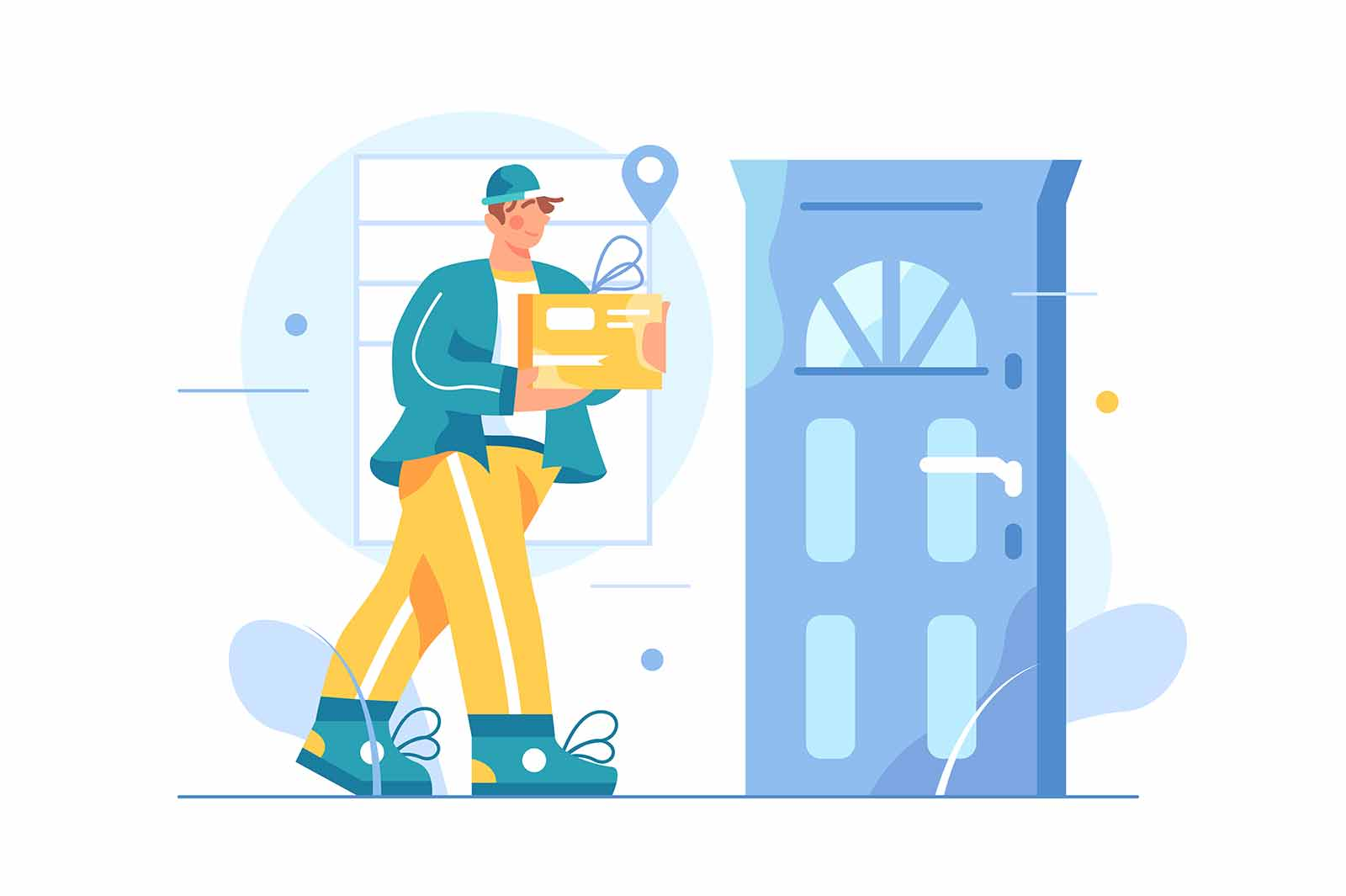 Man courier delivers goods to the door of the house, guy is holding a box in his hands, isolated on white background, flat vector illustration
