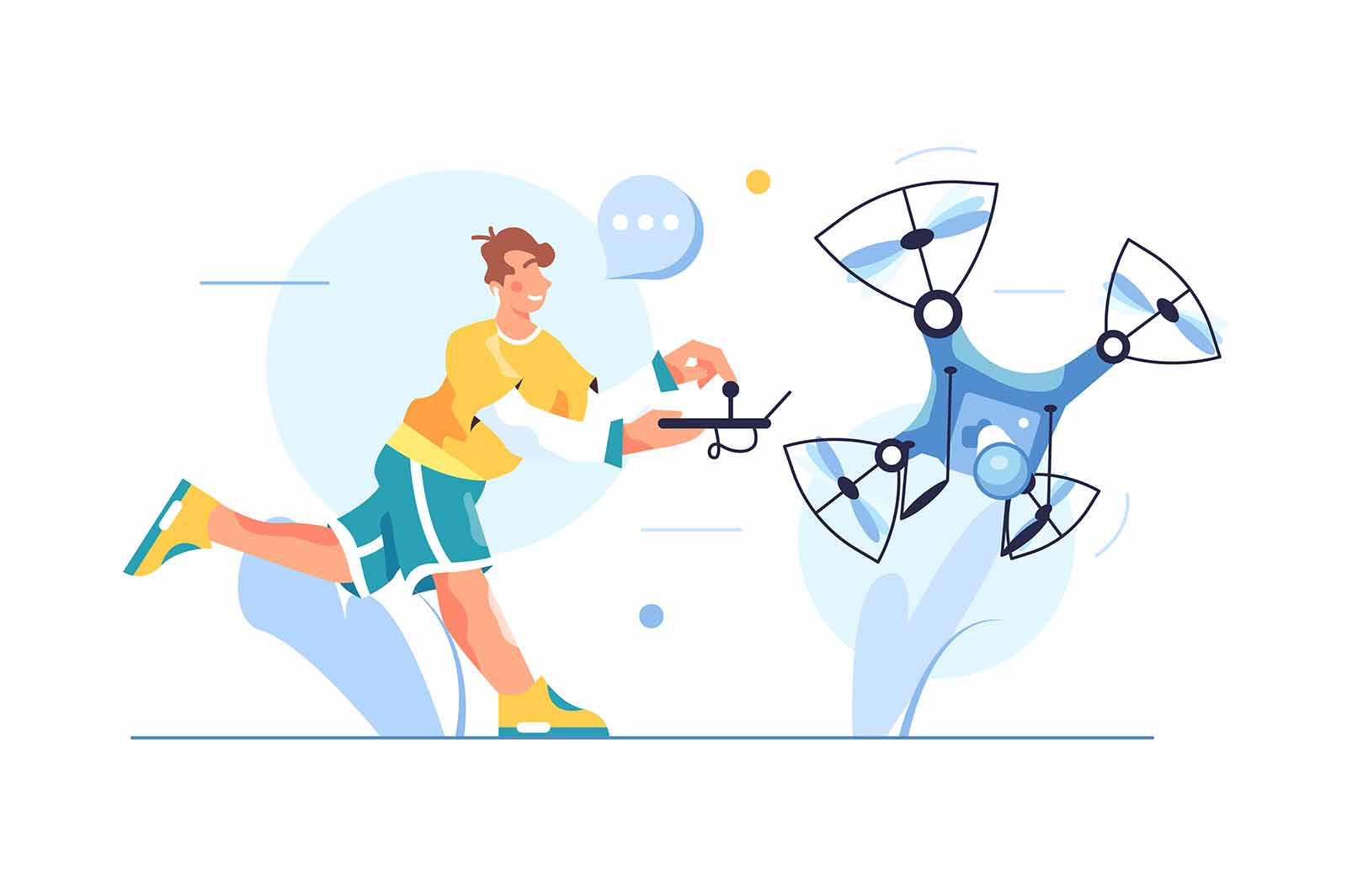 The guy controls a drone with a video camera, guy runs with control panel isolated on white background, flat vector illustration