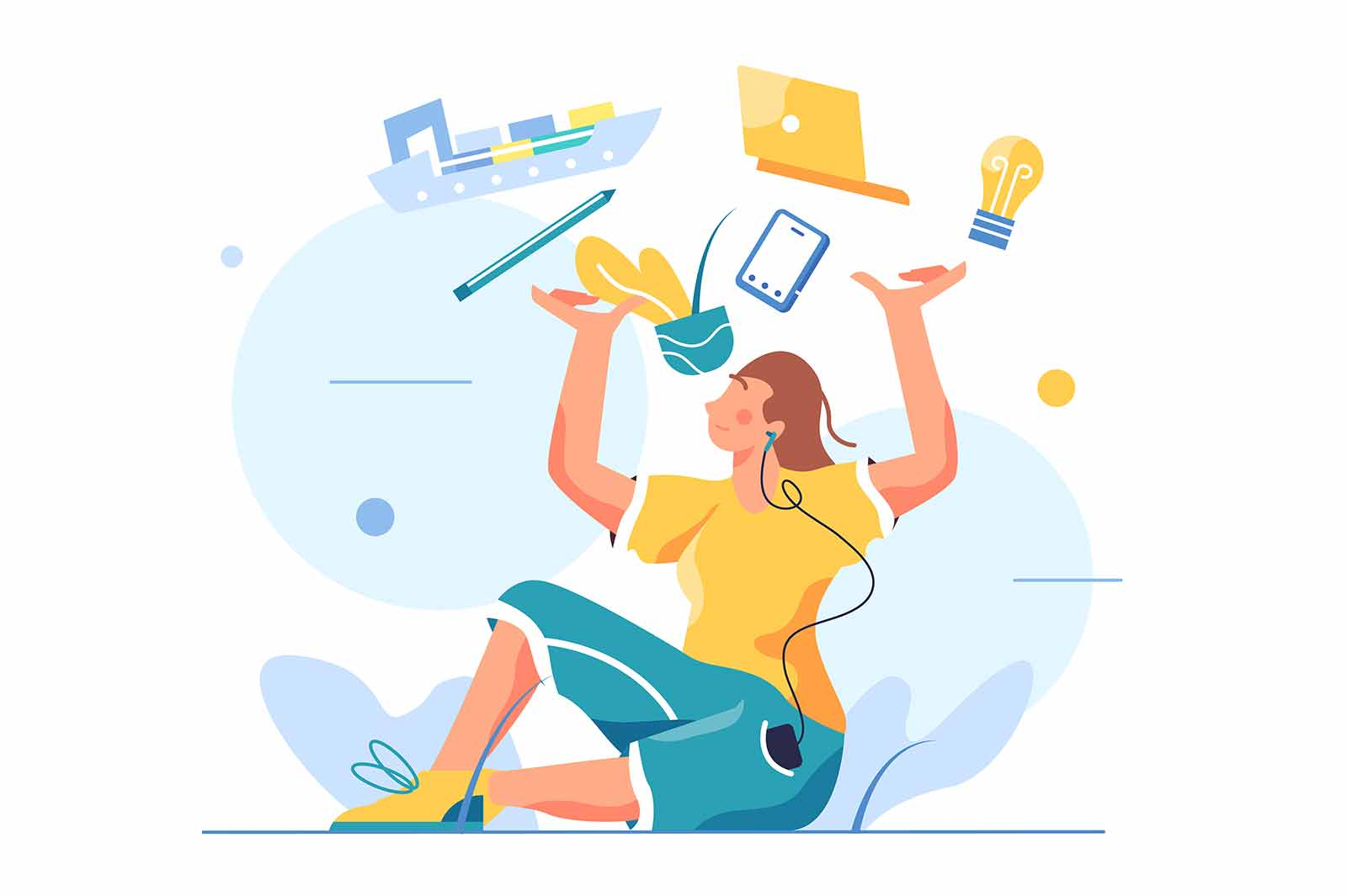 Woman sitting on the floor and holding things in her hands, computer, phone, karandish, ship, girl in headphones isolated on white background, flat vector illustration