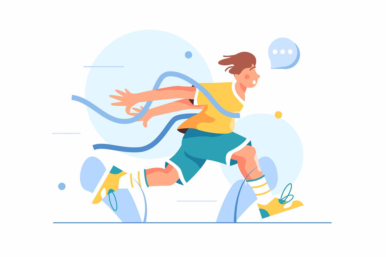 Guy athlete finishes in running competition, crosses the tape, came running first, isolated on white background, flat vector illustration