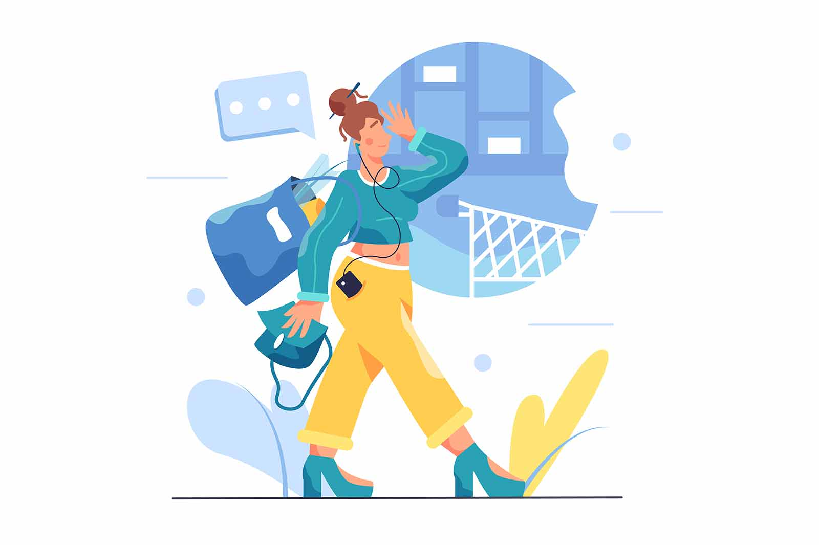 Girl walking from the store with a bag full of groceries, the girl carries a bag in her hand, wearing headphones, isolated on white background, flat vector illustration