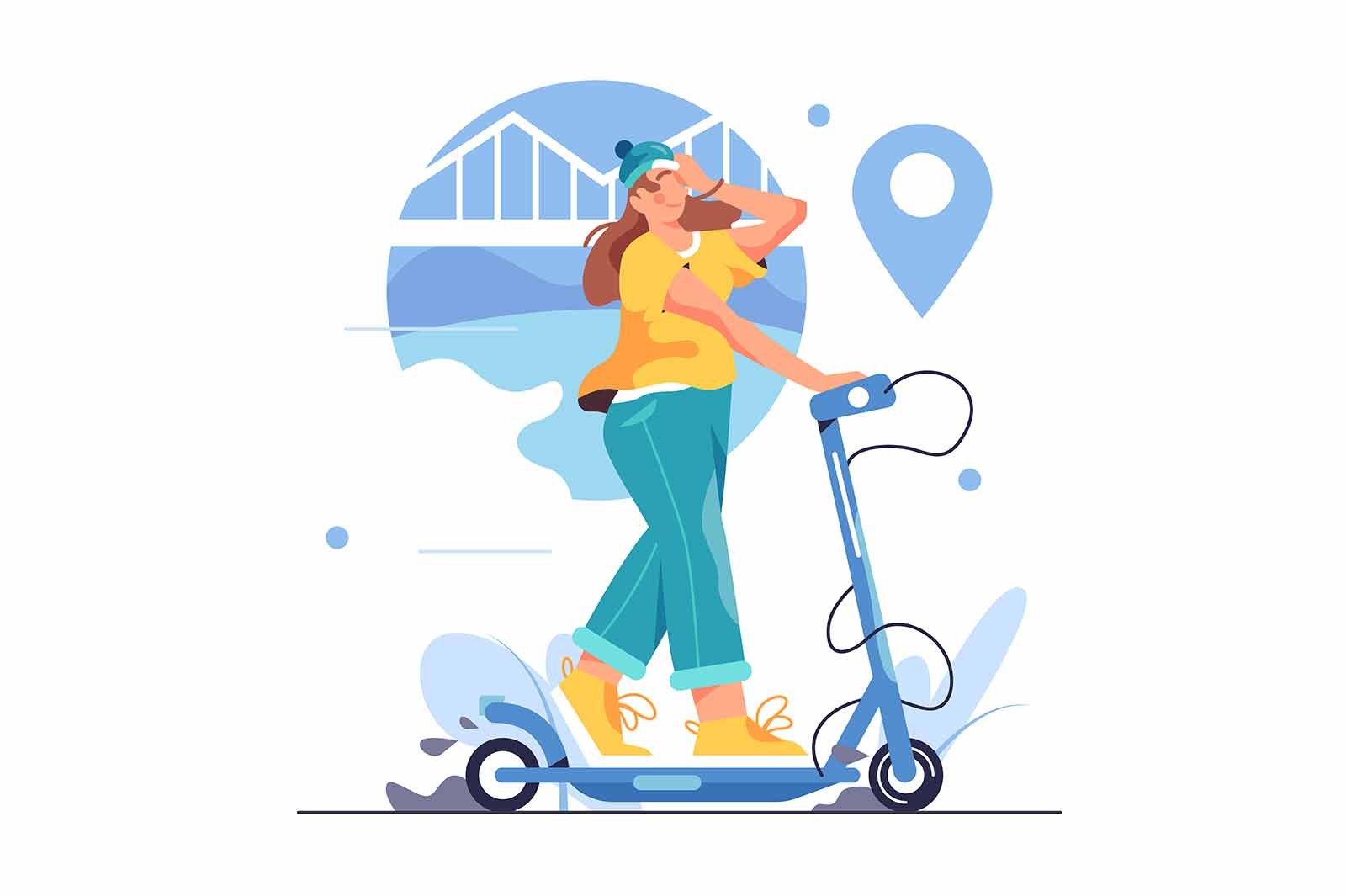 Girl in a hat rides an electric scooter around the city, big blue pin isolated on white background, flat vector illustration