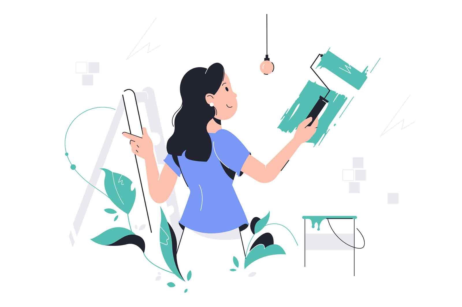Young happy girl painting wall in plants color. Concept smiling woman character using equipment for apartment repairs. Vector illustration.