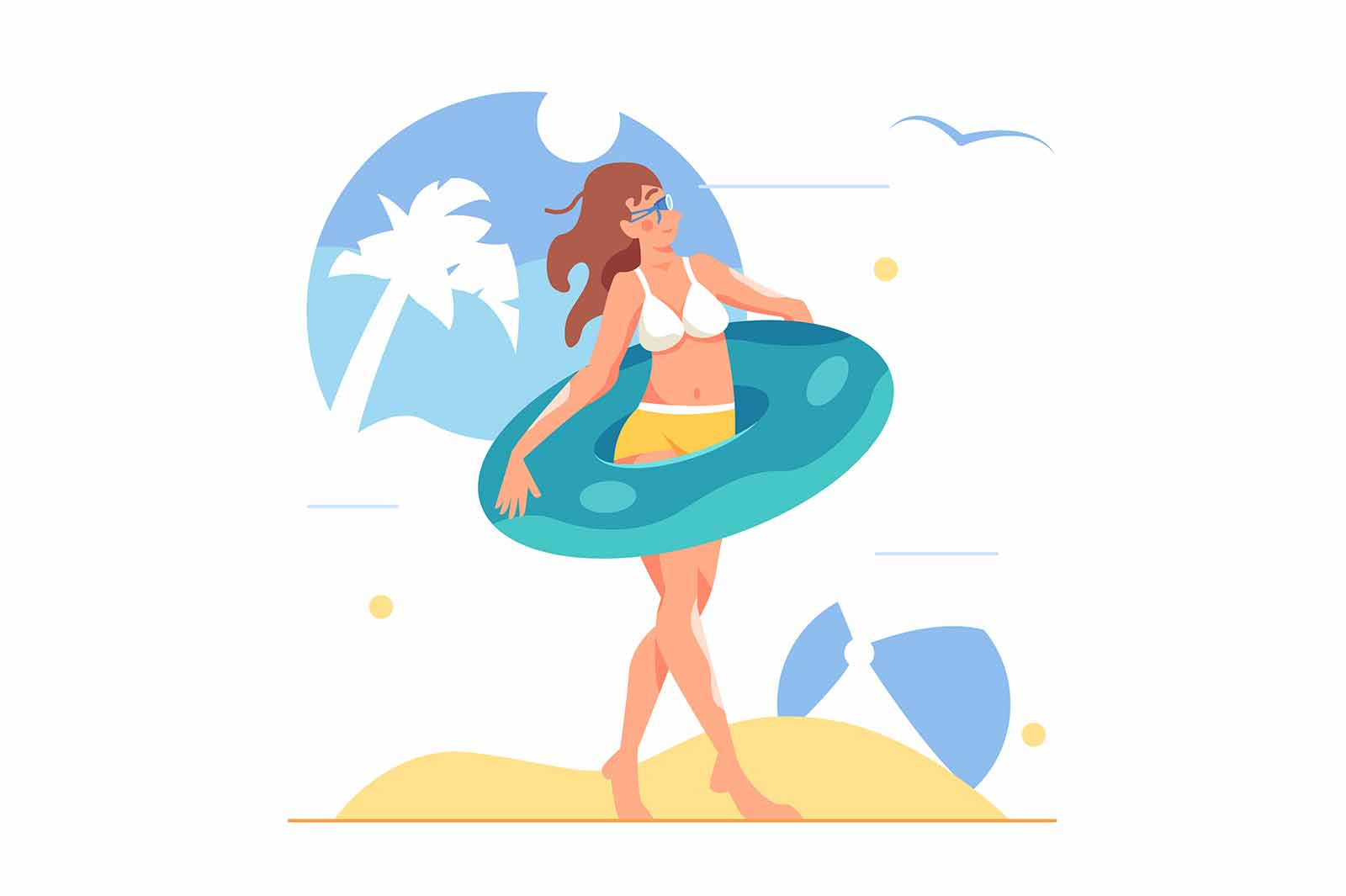 Girl in swimsuit with inflatable ring and in water glasses on the beach, big inflatable ball isolated on white background, flat vector illustration