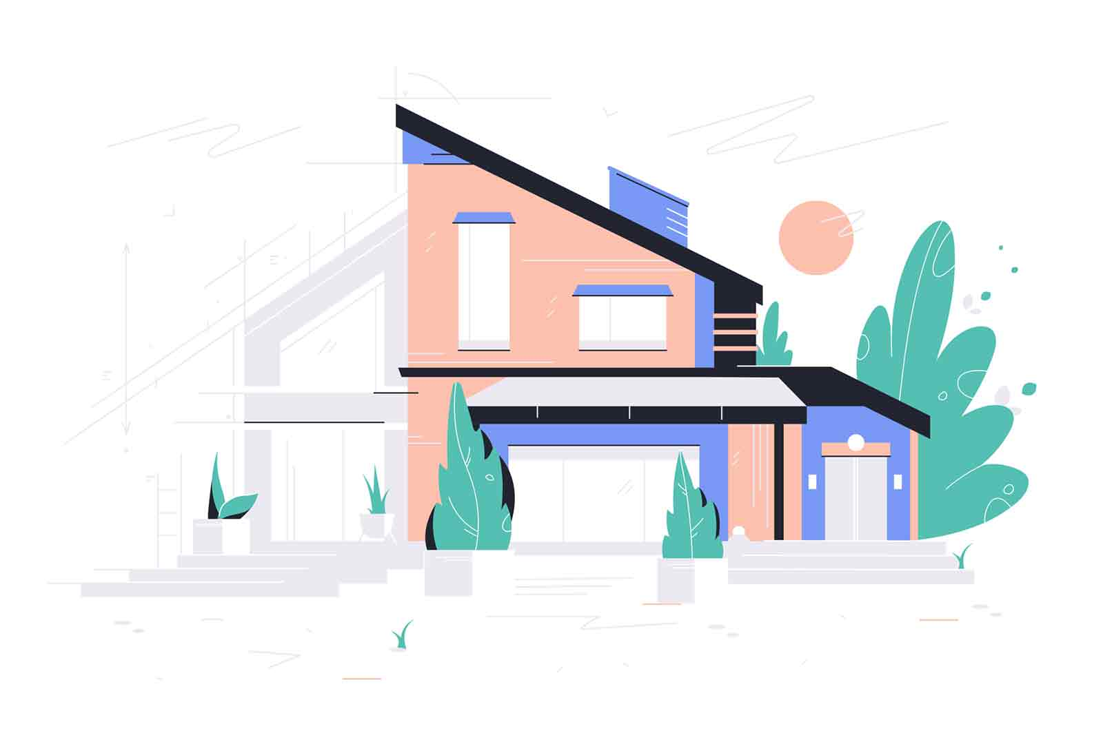New modern house project vector illustration. Change exterior design flat style. Building plan. Renovation and construction site concept. Isolated on white background