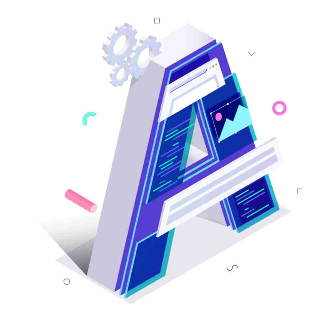 Isometric Alphabet letters collection