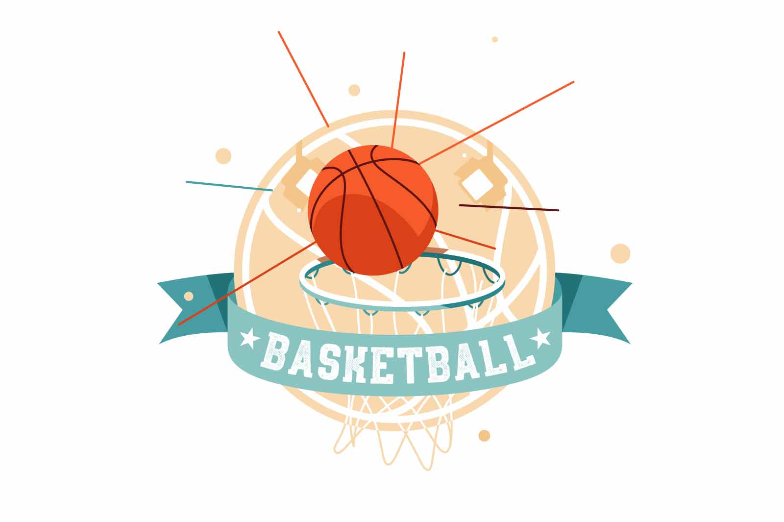 Flat icon of basketball scores goal with ball and inscription. Isolated symbol concept of sport playing in game performs achievement in competition. Vector illustration.