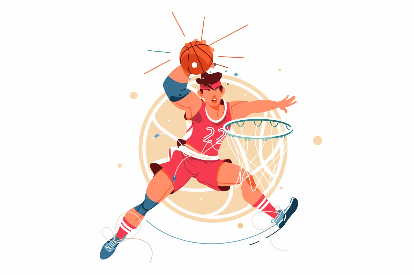 Excited young male basketball player scores goal in jump with ball. Isolated icon concept of man in sport playing in game performs achievement in competition. Vector illustration.