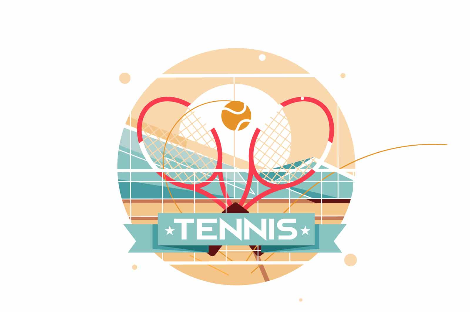 Flat icon of two crossed tennis rackets for tennis player. Isolated symbol concept of sport playing equipment in game performs achievement in competition. Vector illustration.
