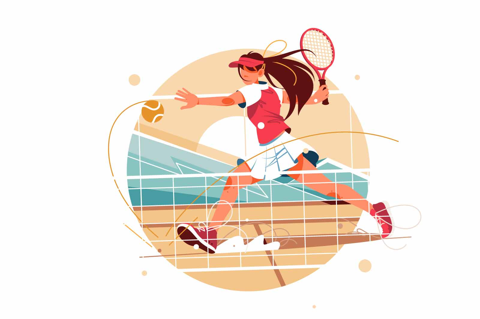 Excited young female tennis player hitting ball using tennis racket. Isolated icon concept of woman in sport playing in game performs achievement in competition. Vector illustration.