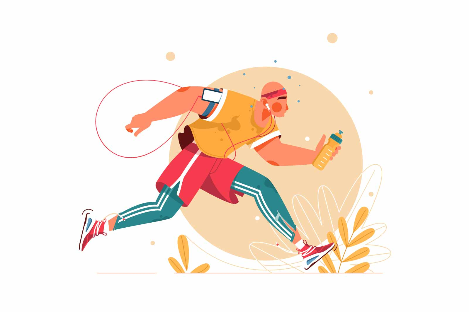Handsome big young man with sportswear running in forest. Isolated concept male character using mobile device and bottle with water for health management training for sport. Vector illustration.