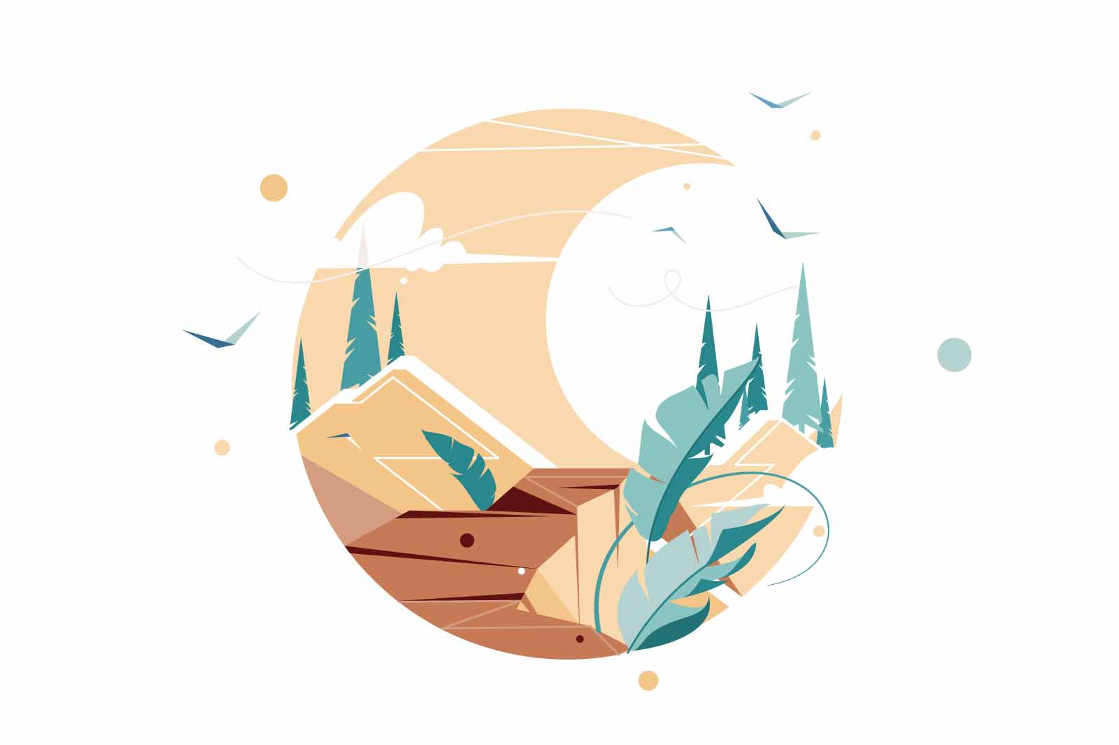 Flat icon of view from traveler watching from height using spyglass. Isolated symbol concept of natural landscape in mountain with birds journey studying area. Vector illustration.
