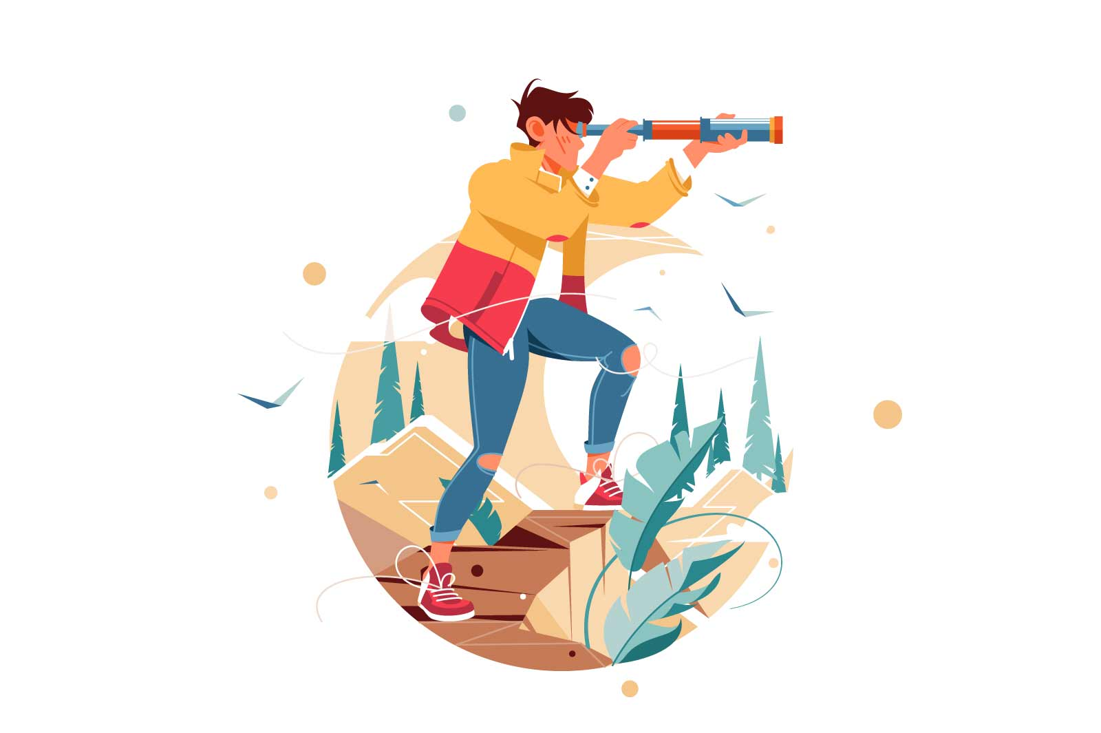 Young confident male traveler watching from height using spyglass. Isolated icon concept of handsome man character in mountain journey studying area. Vector illustration.