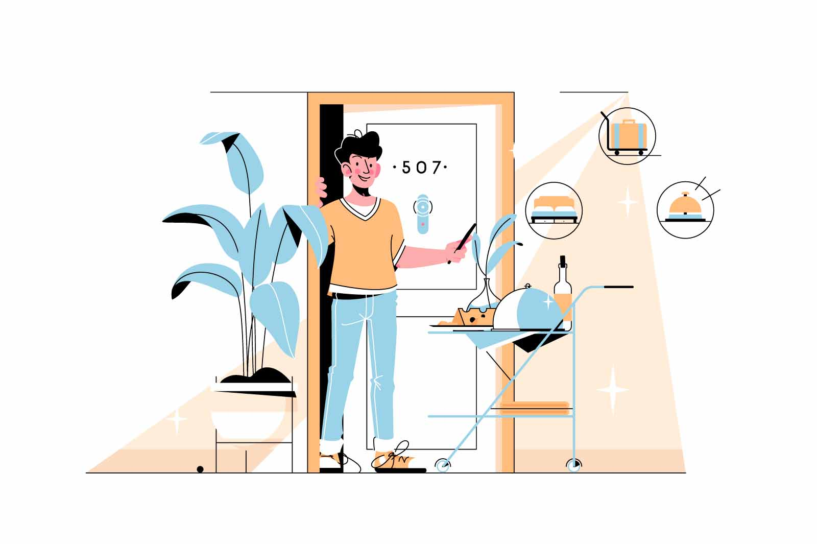 Man glad with hotel service vector illustration. Luxury resort with five starts flat style. Good service, all inclusive and good stay concept. Isolated on white background