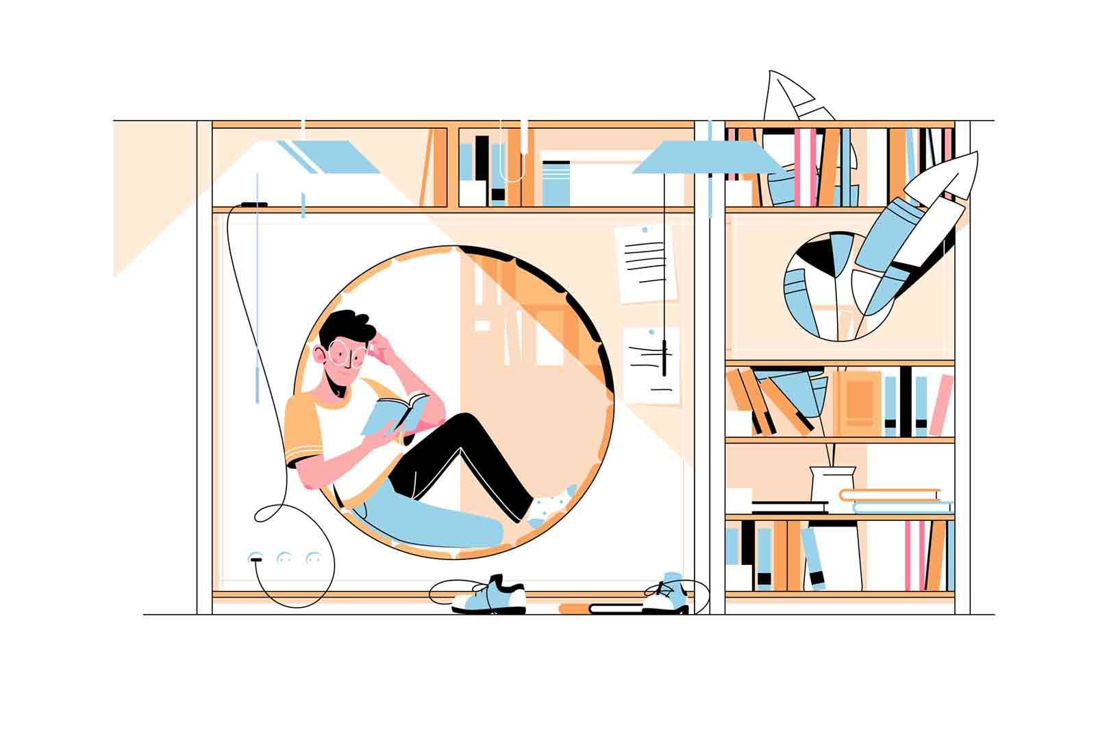 Guy in modern library vector illustration. Young man reading book sitting in round hole flat style. Collection of books on shelves. Development and hobby concept. Isolated on white background