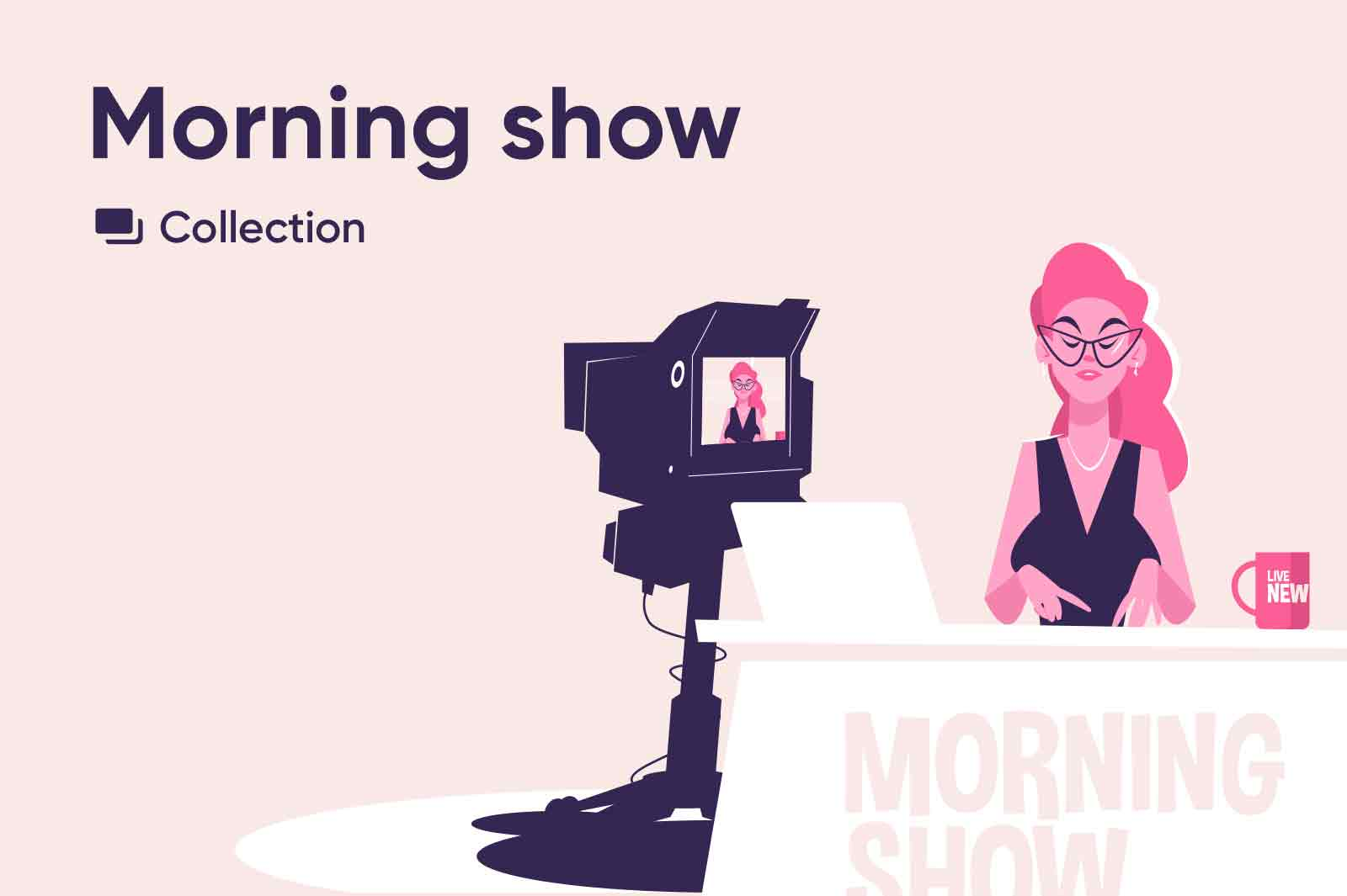 Morning show vector Illustrations collection