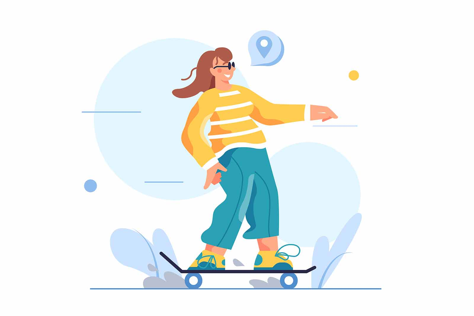Girl rides a skateboard, wearing sunglasses, isolated on white background flat vector illustration.