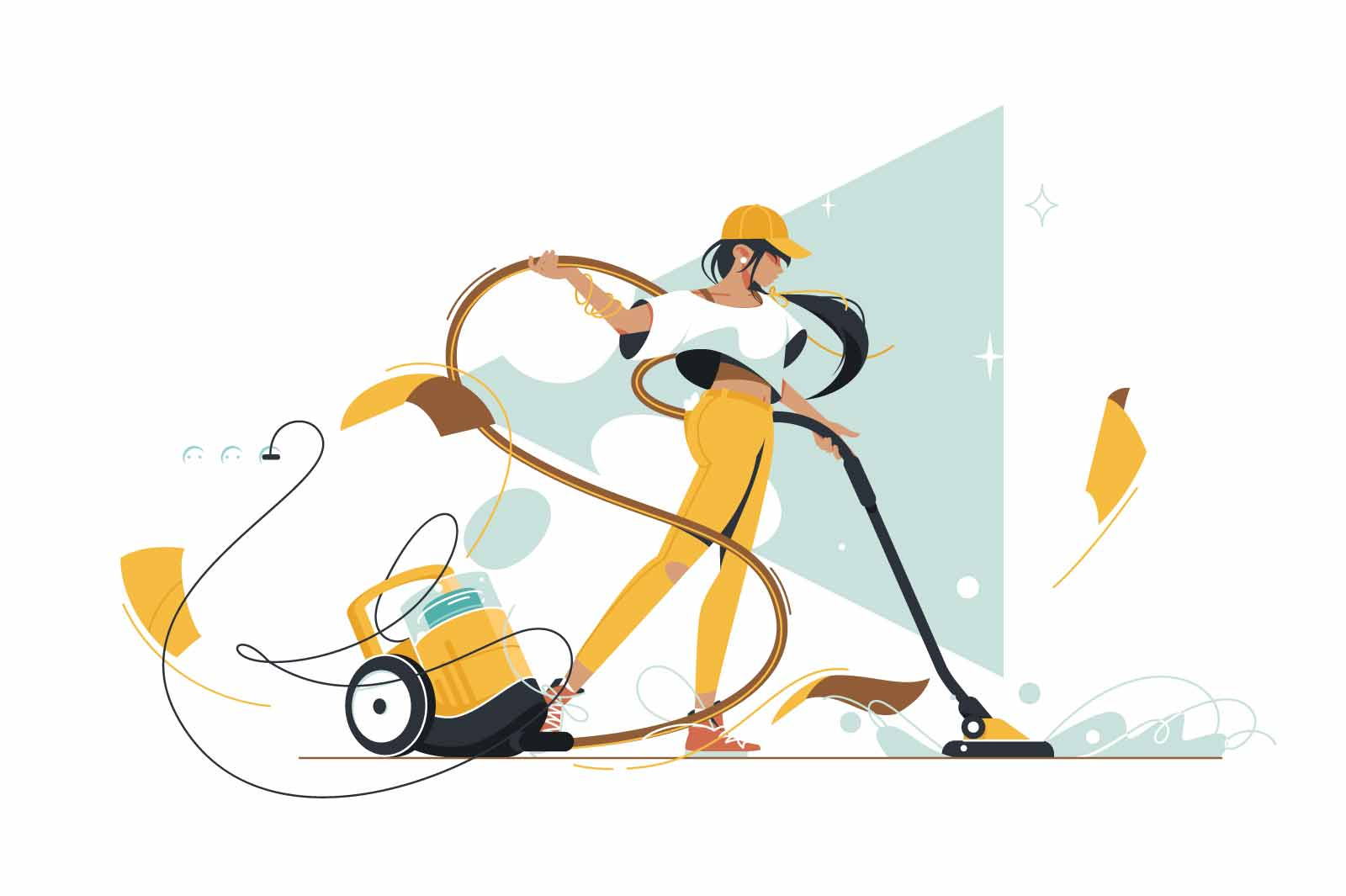 Girl using vacuum cleaner for cleaning vector illustration. Dust and mess at home flat style. Woman using electrical machine. Cleanup and cleaning service concept. Isolated on white background