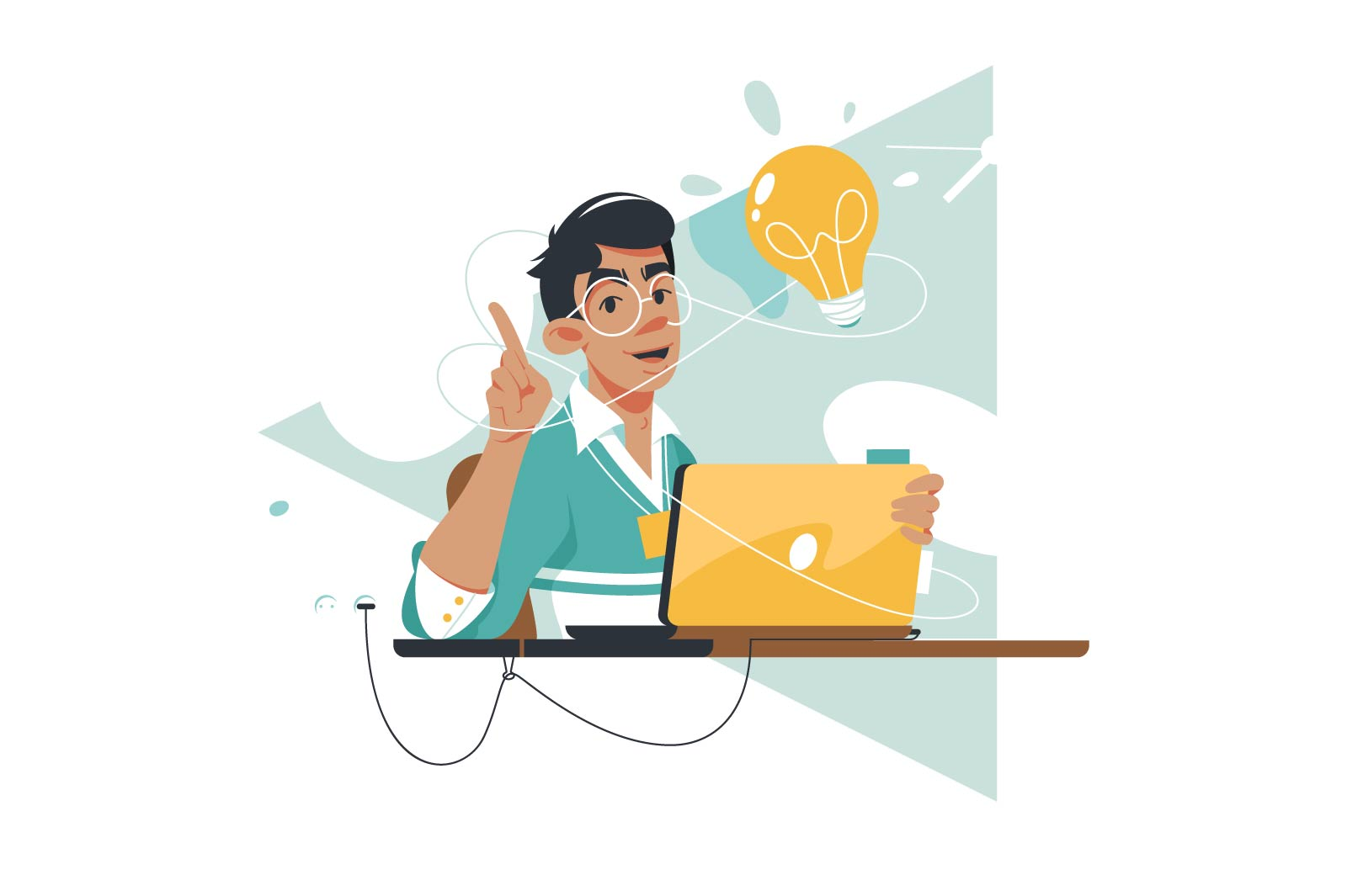 Guy happy with great idea vector illustration. Smart man have insight and discussing plan on laptop flat style. Startup, inspiration and creativity concept. Isolated on white background