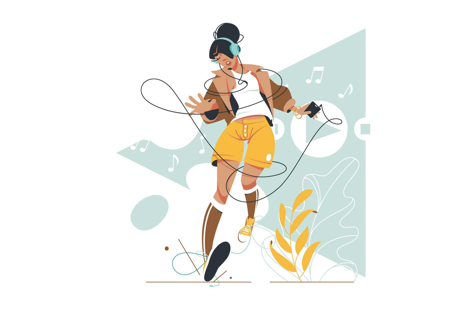 Attractive young woman listening and dancing to music. Isolated concept of relaxing girl character using mobile phone for digital app with icon interface. Vector illustration.