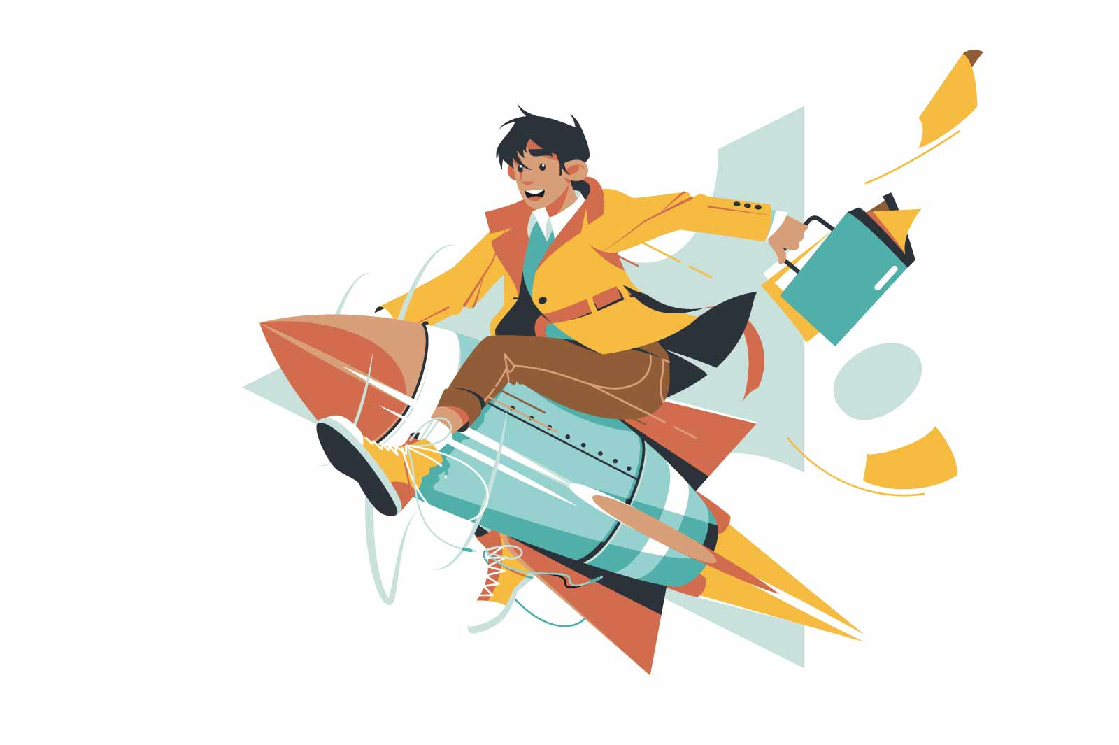 Young happy handsome businessman on success idea rocket. Isolated concept man character with folder and good startup flying in future on modern vehicle. Vector illustration.