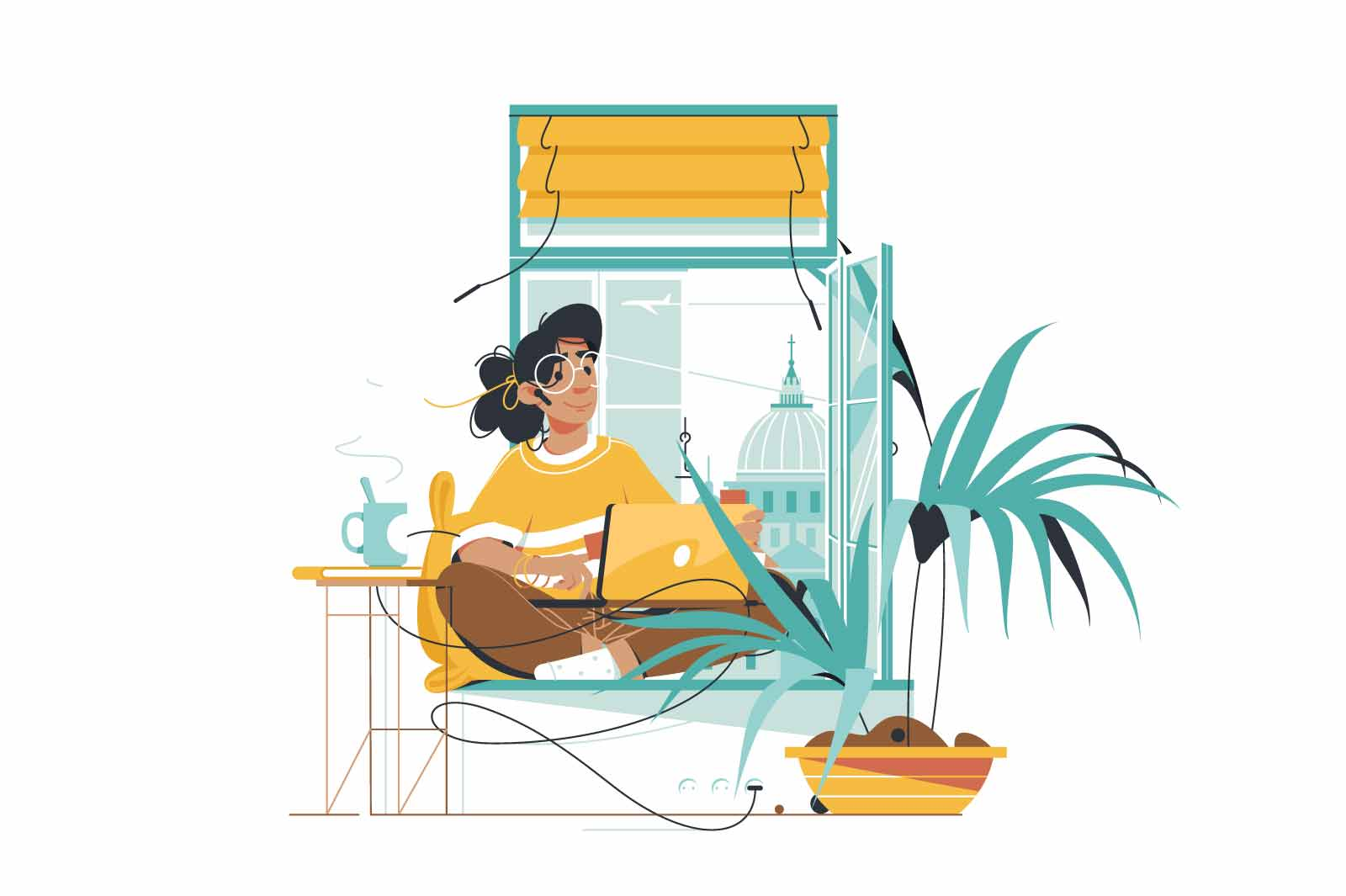 Woman sitting on sill vector illustration. Pretty girl using laptop for fun flat style. Watching video series or surfing information on internet. Relax and hobby concept. Isolated on white background
