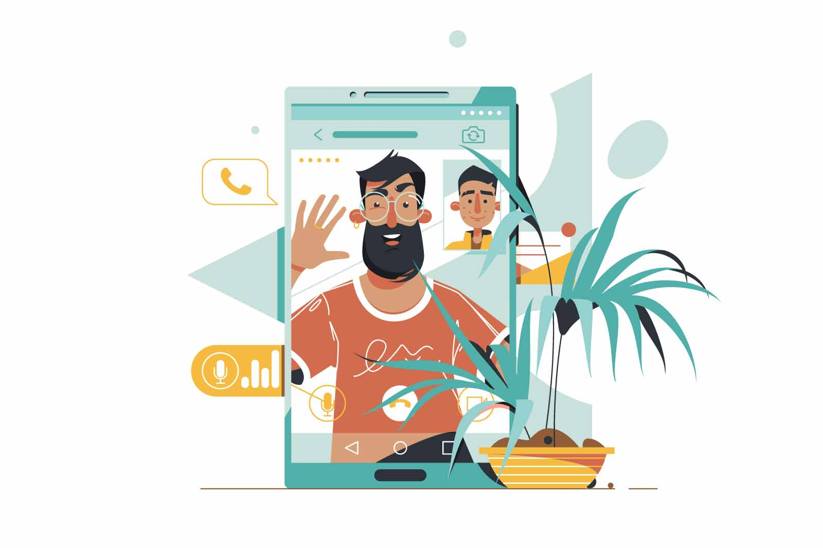 Handsome bearded man speaking and talk with businessman on video call using mobile phone. Isolated concept male employee character at digital conversation, meeting with friends. Vector illustration.