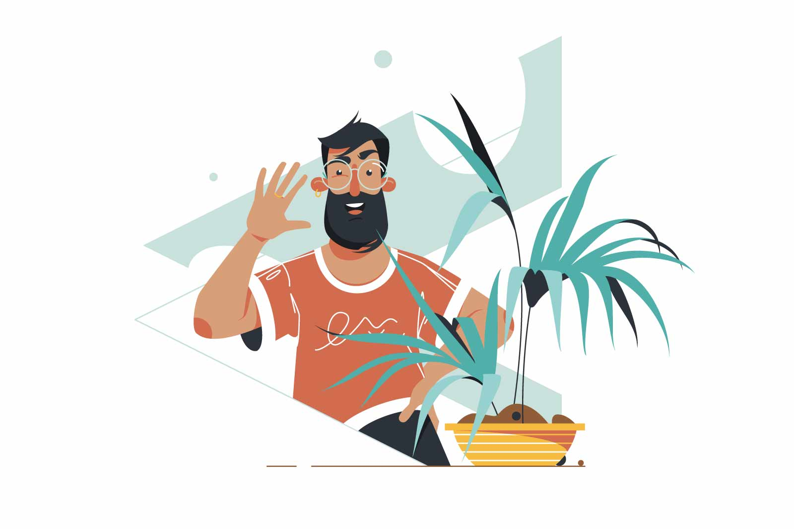 Bearded guy on video call vector illustration. Man wave hello and chat with remote connection on device flat style. Technology and online communication concept. Isolated on white background