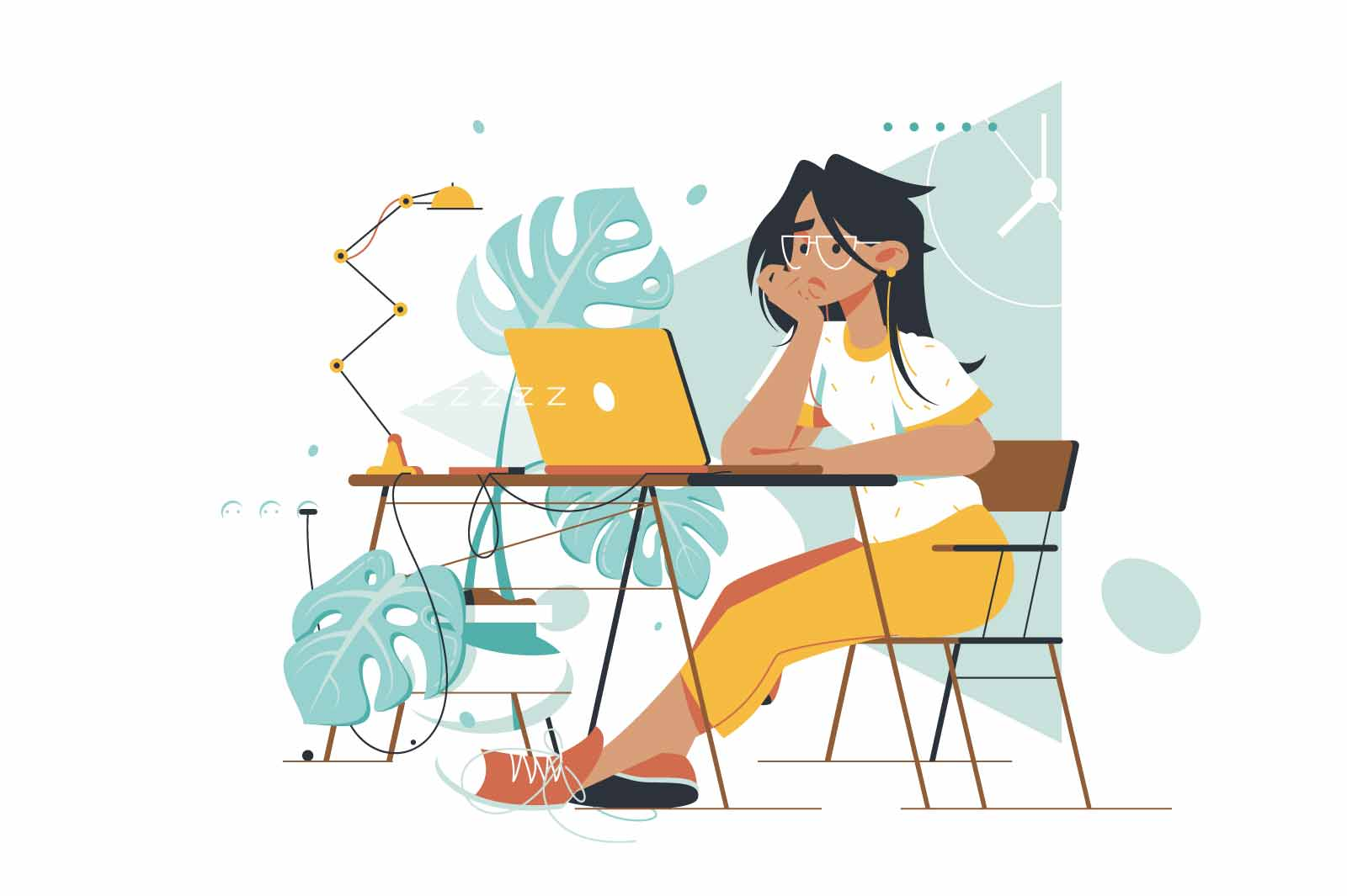 Young attractive boring woman waiting message at laptop in home office. Concept girl employee character working at workspace using computer and mobile device for report. Vector illustration.