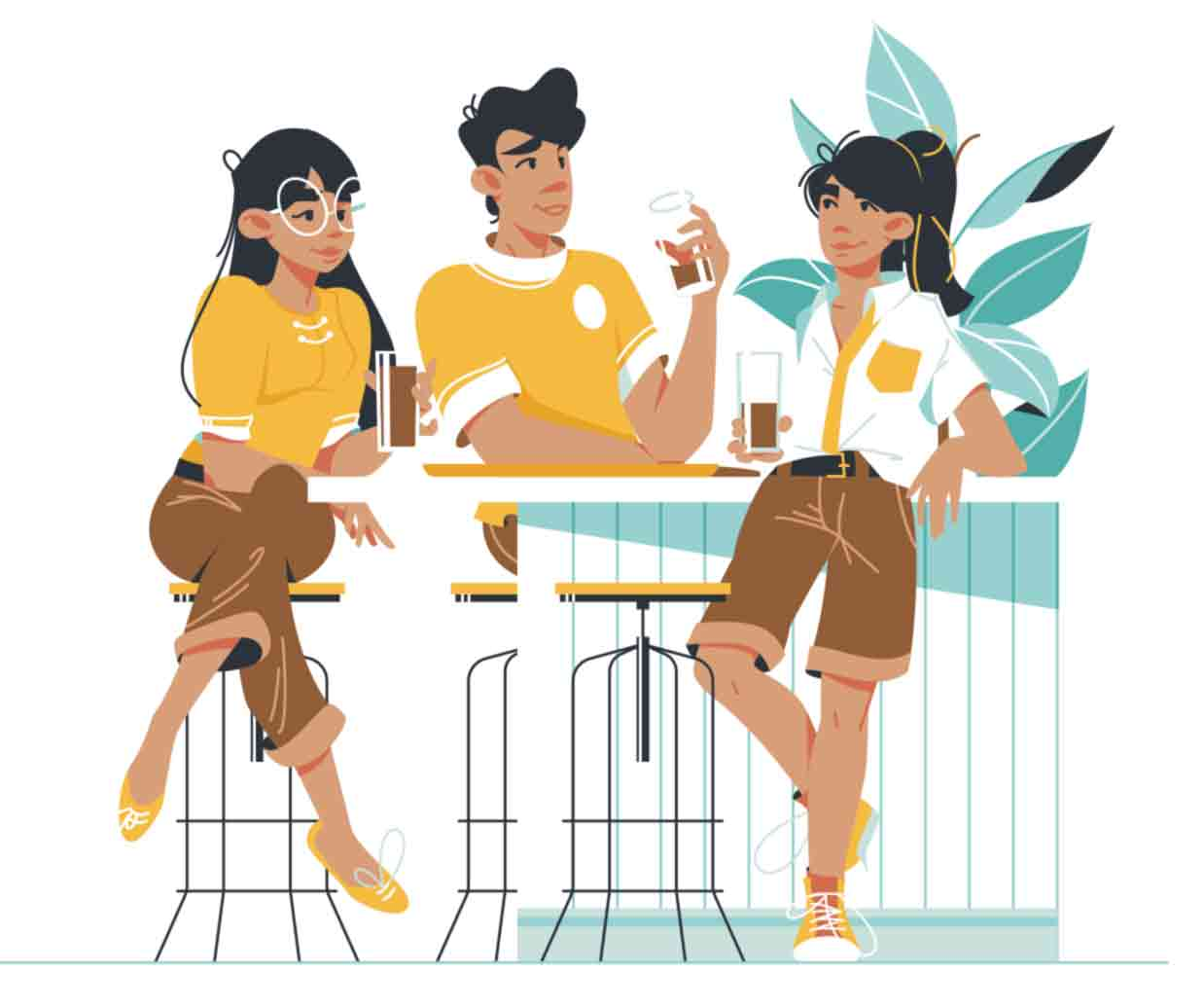 Fun character vector illustrations of friends and colleagues.